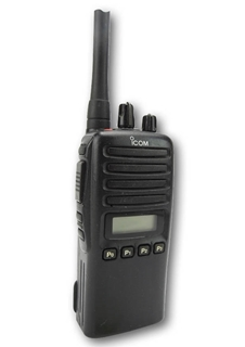 Picture of Icom IC-F44GS UHF Walkie-Talkie Two Way Radio (Used) & New Covert Earpiece with Mic & PTT