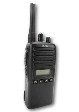 Picture of Icom IC-F44GS UHF Walkie-Talkie Two Way Radio (Used) & New D-Shape Earpiece with Mic & PTT