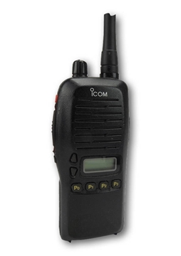 Picture of Icom IC-F4GS UHF Walkie-Talkie Two Way Radio (Used) & New D-Shape Earpiece with Mic & PTT