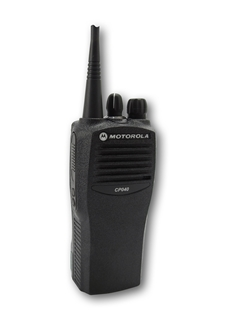 Picture of Motorola CP040 UHF Walkie-Talkie Two Way Radio (Refurbished) & New D-Shape Earpiece with Mic & PTT