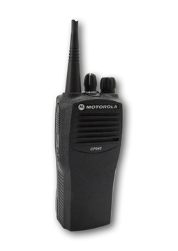 Picture of Motorola CP040 UHF Walkie-Talkie Two Way Radio (Refurbished) & New G-Shape Earpiece with Mic & PTT