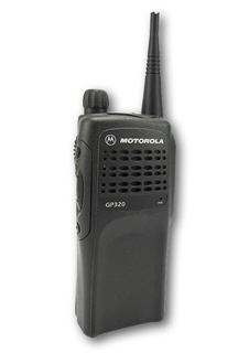 Picture of Motorola GP320 UHF Walkie-Talkie Two Way Radio (Refurbished) & New D-Shape Earpiece with Mic & PTT
