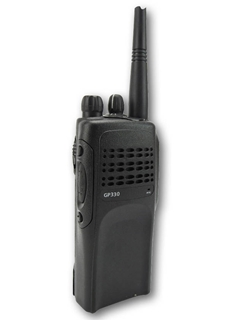 Picture of Motorola GP330 UHF Walkie-Talkie Two Way Radio (Refurbished) & New D-Shape Earpiece with Mic & PTT