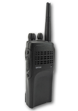 Picture of Motorola GP330 VHF Walkie-Talkie Two Way Radio (Refurbished) & New D-Shape Earpiece with Mic & PTT