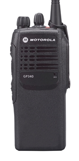 Picture of Motorola GP340 UHF Walkie-Talkie Two Way Radio (Refurbished) & New Covert Earpiece with Mic & PTT