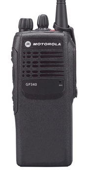 Picture of Motorola GP340 UHF Walkie-Talkie Two Way Radio (Refurbished) & New Covert Earpiece with Mic & PTT
