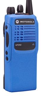 Picture of Motorola GP340 UHF Walkie-Talkie Two Way Radio (Refurbished) Blue
