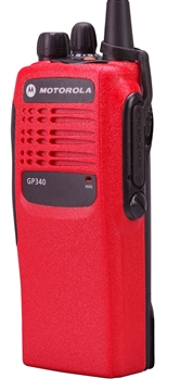 Picture of Motorola GP340 UHF Walkie-Talkie Two Way Radio (Refurbished) Red