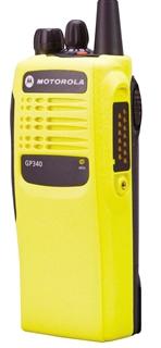 Picture of Motorola GP340 UHF Walkie-Talkie Two Way Radio (Refurbished) Hi-Viz Yellow