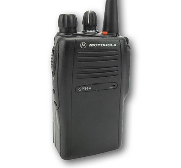 Picture of Motorola GP344 UHF Walkie-Talkie Two Way Radio (Refurbished) & New Covert Earpiece with Mic & PTT
