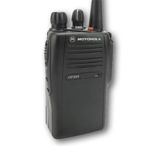 Picture of Motorola GP344 UHF Walkie-Talkie Two Way Radio (Refurbished) & New D-Shape Earpiece with Mic & PTT