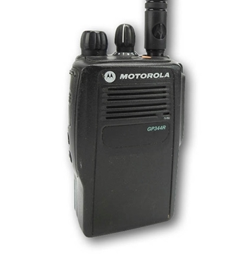 Picture of Motorola GP344R UHF Walkie-Talkie Two Way Radio (Refurbished) & New D-Shape Earpiece with Mic & PTT
