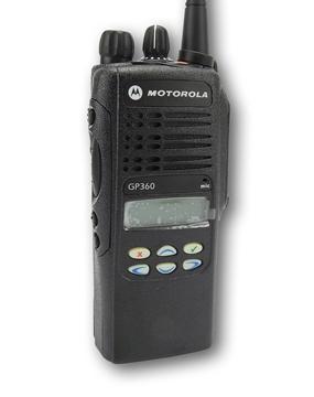 Picture of Motorola GP360 VHF Walkie-Talkie Two Way Radio (Refurbished) & New D-Shape Earpiece with Mic & PTT