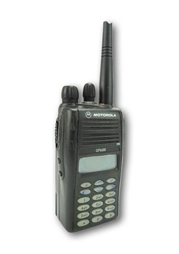 Picture of Motorola GP688 UHF Walkie-Talkie Two Way Radio (Refurbished) & New D-Shape Earpiece with Mic & PTT