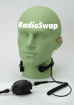 Picture of HYT Heavy Duty Throat Mic with Large PTT & Covert Earpiece (M6) - By Radioswap
