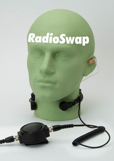 Picture of Maxon Heavy Duty Throat Mic with Large PTT & Covert Earpiece (S3) - By Radioswap