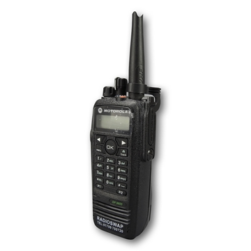 Picture of Motorola DP3600 UHF Walkie-Talkie Two Way Radio (Refurbished) & New G-Shape Earpiece with Mic & PTT