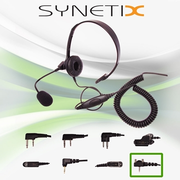 Picture of Vertex Lightweight Headset with Boom Mic & Inline PTT (Y4) - By Radioswap