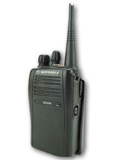 Picture of Motorola GP644 UHF Walkie-Talkie Two Way Radio (Refurbished) & New Covert Earpiece with Mic & PTT