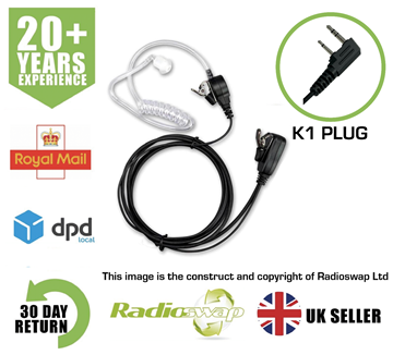 Picture of COVERT EARPIECE WITH MIC & PTT FITS HYT (TWO PIN) TWO WAY RADIO (RS-ACC-K1)