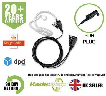 Picture of COVERT EARPIECE WITH MIC & PTT FITS HYTERA TWO WAY RADIO P605 X1P (RS-ACC-PD6)